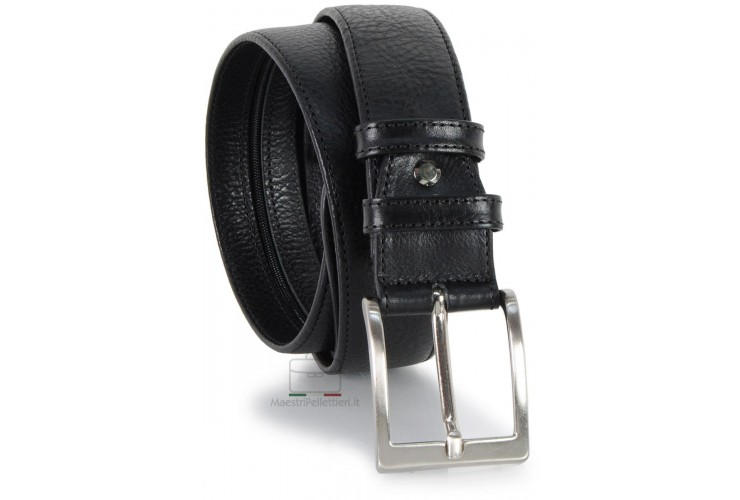 Belt with Zip secret money pocket 4cm Travelbelt in leather Black