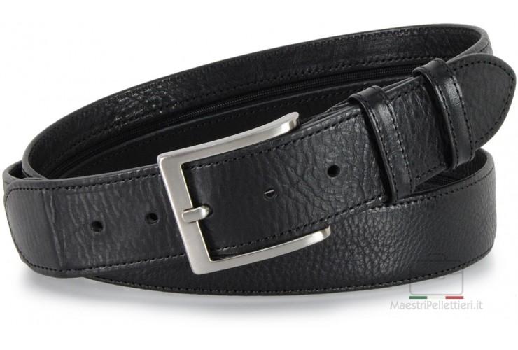 Cintura con cerniera Zip tasca segreta 4cm in pelle Nero