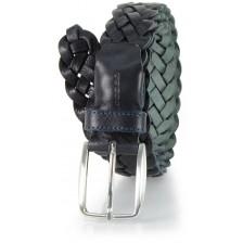 Cintura intrecciata a mano in Cuoio vegetale, regolabile, Blu