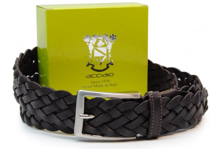Cintura intrecciata a mano in Cuoio vegetale, regolabile, Marrone