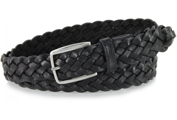 Braided vegetable leather belt by hand, adjustable, Black