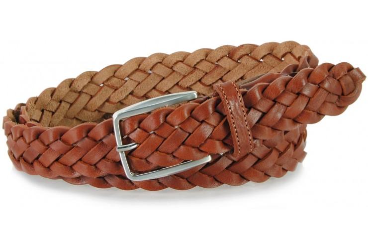Cintura intrecciata a mano in Cuoio vegetale, regolabile, Cognac