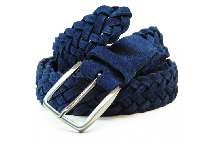 Cintura intrecciata a mano Scamosciata vera-pelle, regolabile, Blu