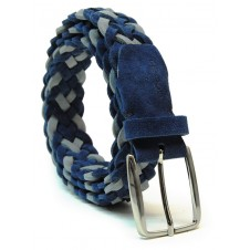 Braided Suede leather belt Blue and Gray, mesh by hand