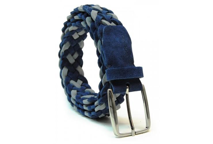 Cintura intrecciata a mano Scamosciata vera-pelle regol. Blu e Grigio