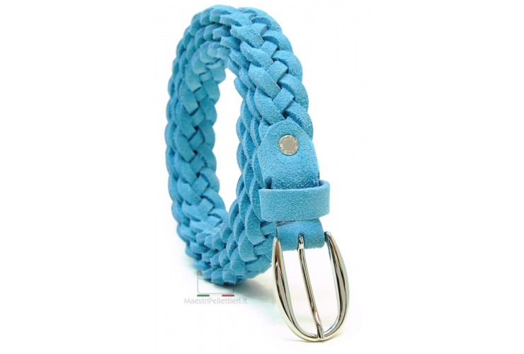 Braided Women slim belt, soft Suede leather, mesh by hand, adjustable, Blue/Sky