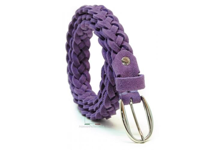 Cintura Donna intrecciata a mano in pelle Scamosciata 2cm Viola
