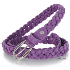 Braided Women slim belt, soft Suede leather, mesh by hand, adjustable, Violet