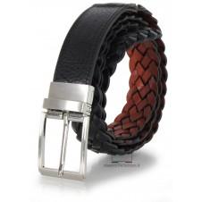 Cintura intrecciata in Cuoio double face reversibile Nero/Cognac