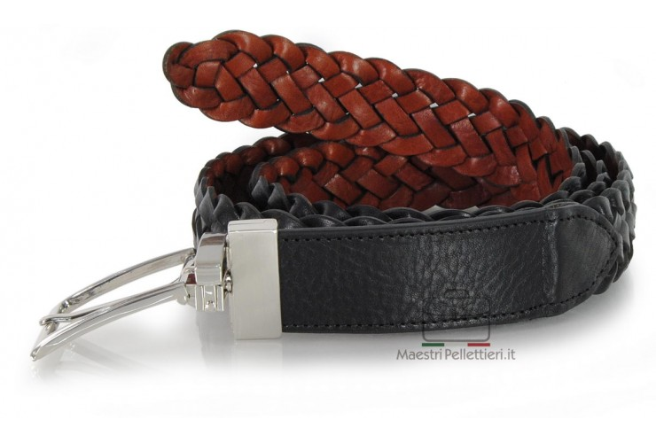 Braided Belt reversible double sided leather Black Cognac
