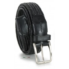 Braided stretch leather belt elastic, adjustable, cowhide Black