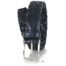 Cintura intrecciata in Cuoio e Corda, regolabile, Blu