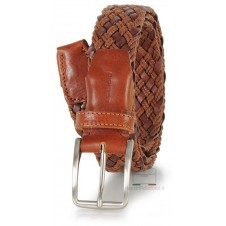 Braided leather belt with braided rope, adjustable, Cognac