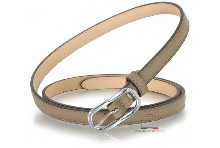 Women's skinny belt 0.6inch/1.5cm in leather Gray/Taupe