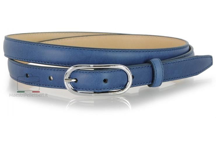 Cintura Donna sottile 2cm in pelle Blu