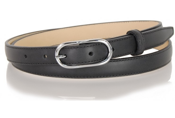 Women's skinny belt 2cm in leather Black
