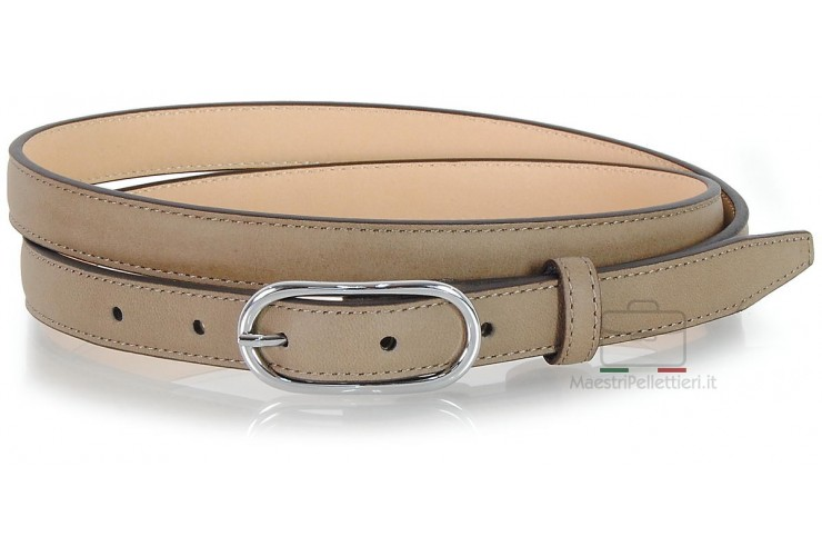 Women's skinny belt 2cm in leather Grey/Taupe
