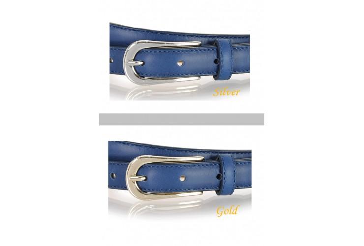 Cintura Donna sottile 2cm in pelle Blu fibbia Oro oppure Argento