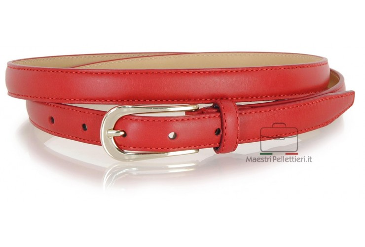 Women's skinny belt 2cm in leather Red gold or silver buckle