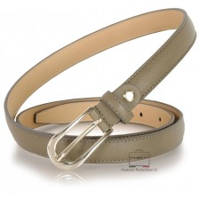 Cintura Donna sottile 2cm in pelle Grigio/Taupe fibbia Oro oppure Argento
