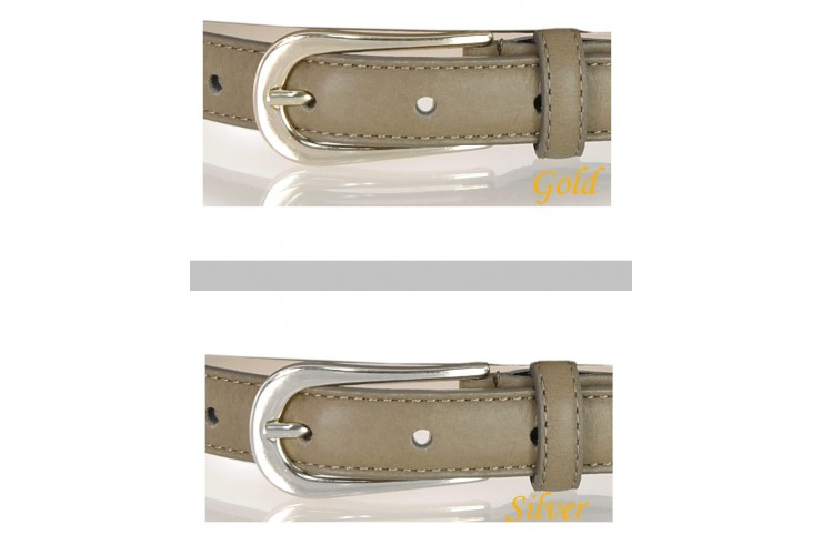 Women's skinny belt 2cm in leather Grey/Taupe Gold or Silver buckle