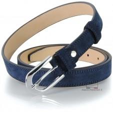 Women's belt in genuine leather suede Blu