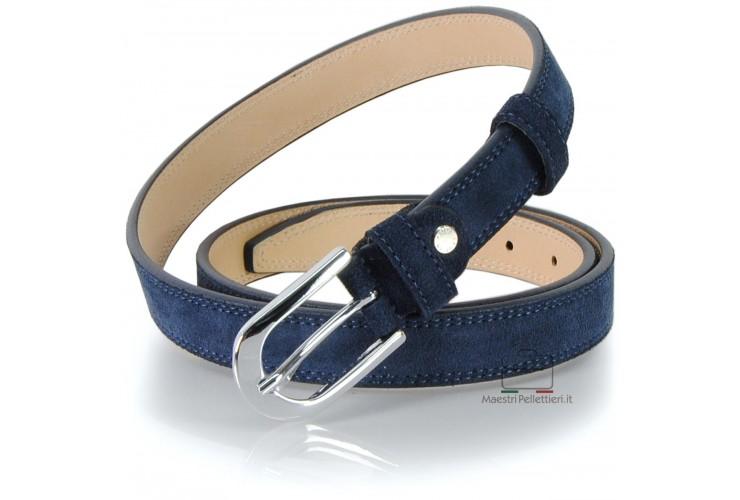 Damen Gürtel aus echtem Leder Veloursleder Blau