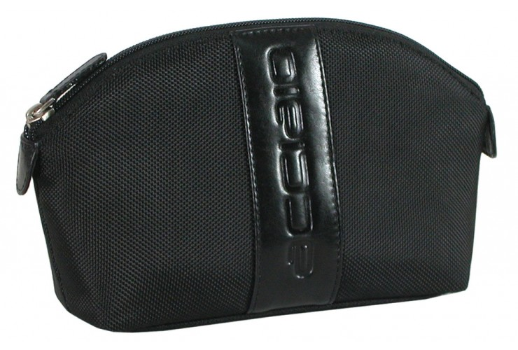 Kosmetiktasche aus Leder/Technylon mit Reißverschluss 18cm Schwarz