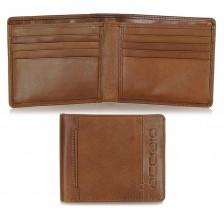 Portafoglio piccolo tascabile in pelle 8cc Cognac