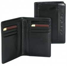 Men's breast fashion leather wallet cards ID Black