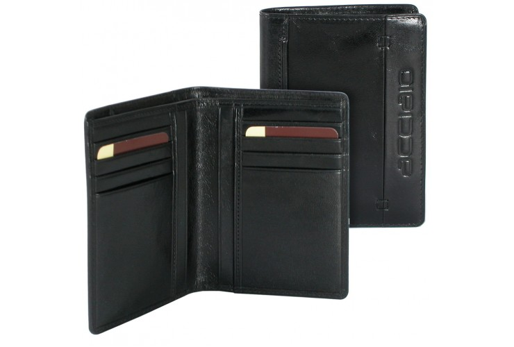 Herren vertikale Portmonee 8 kreditkartenfächer aus Kalbsleder Schwarz