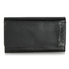 Portafoglio donna pelle a soffietto con portamonete Nero
