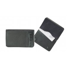 Leather visit card holder hard box magnet blue