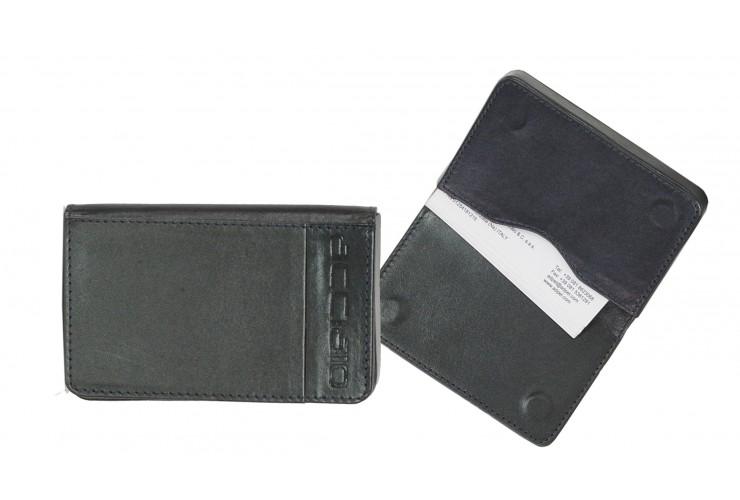 Leather visit card holder hard box magnet blue