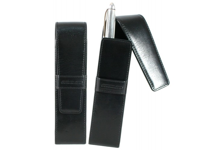 Portapenne in pelle da taschino 2 penne Marrone