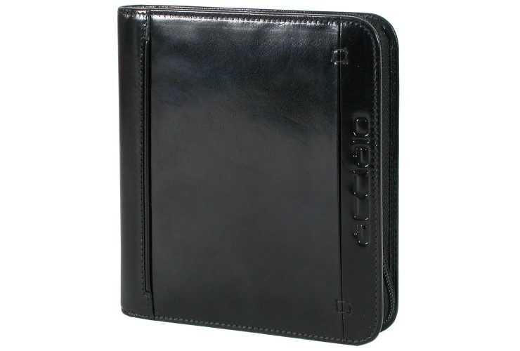 Leather Cd Dvd sleeve with zip - Black