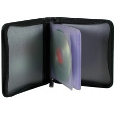 Custodia Porta CD DVD in pelle con zip Nero