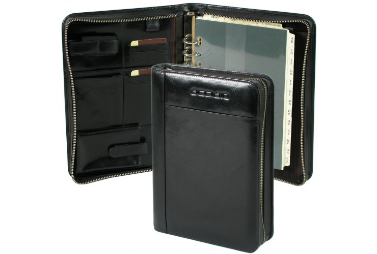 Leather organizer with zip and rings big 26cm Black