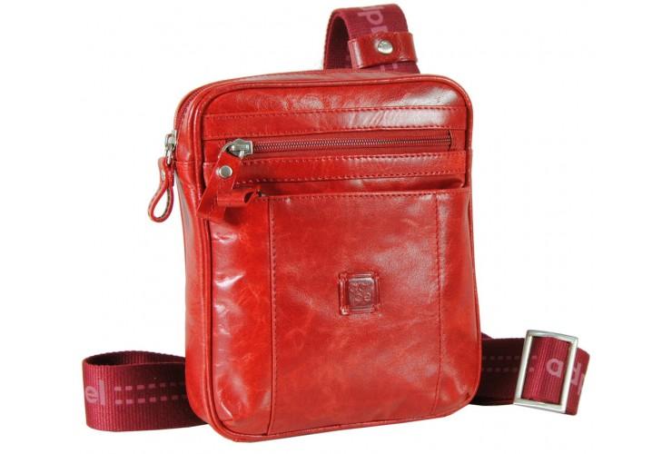 Borsello a tracolla in pelle per tempo libero con 3 zip Rosso 20cm