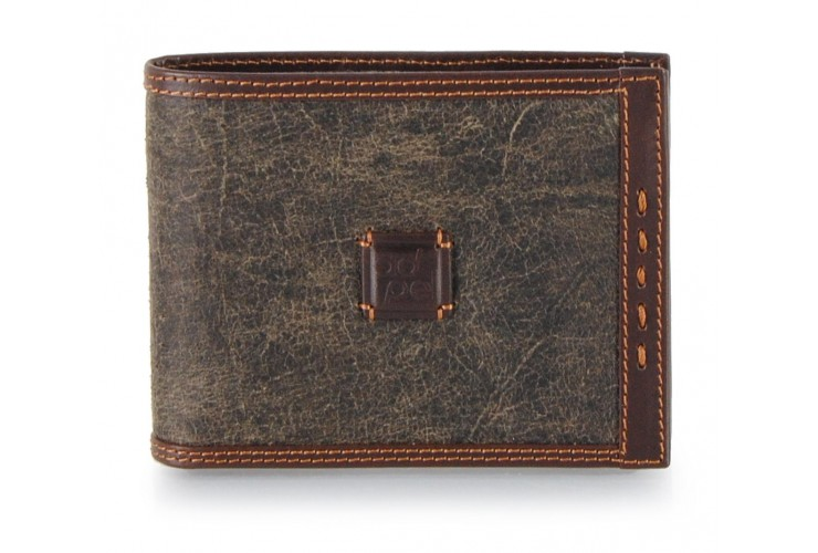 Small wallet in leather with vintage effect color Green Petrol 6cc