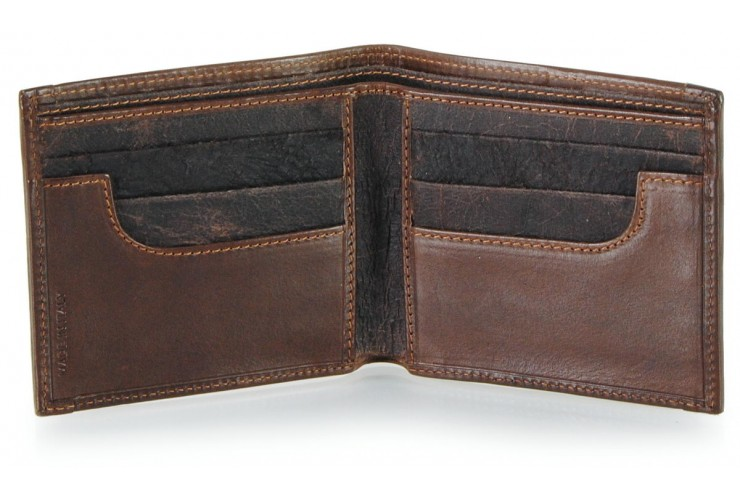 Small wallet in leather with vintage effect color Brown 6cc