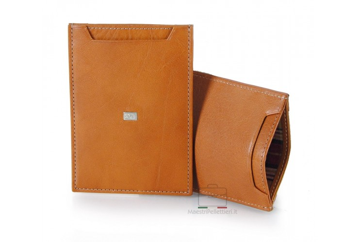 Man's breast slim wallet made by Vegetable leather Honey