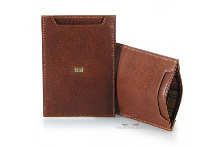 Man's breast slim wallet made by Vegetable leather Chestnut-brown