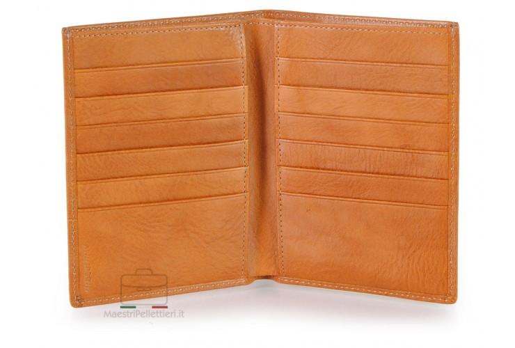 Herren Briefctasche Vertikale 12 kreditkartenfächer, pflanzlich gegerbt leder Honig