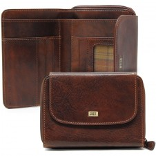 Women's wallet Vegetable leather zip all around and 5 cards Brown/Chestnut