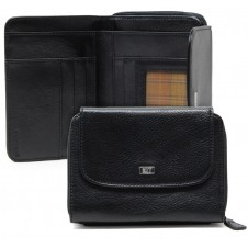 Women's wallet Vegetable leather zip all around and 5 cards Black