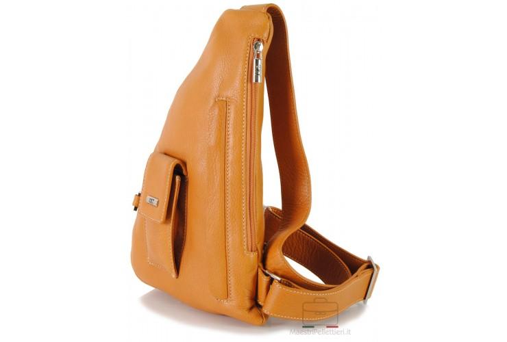 Brusttasche Schulterrucksack aus Leder Honig 33cm
