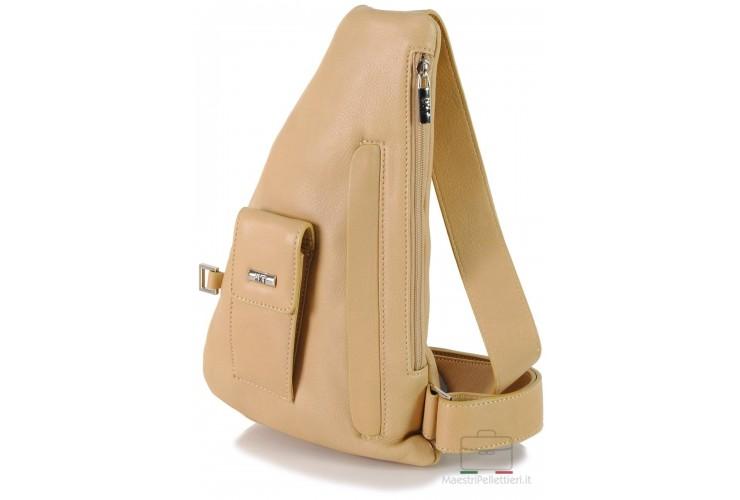 Brusttasche Schulterrucksack aus Leder Beige 33cm