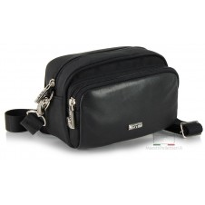 Men's Small shoulder bag in fabric-Leather Black 16.5cm