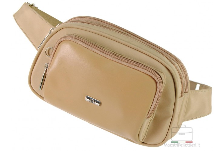 Bum bag man 3 zip compartments fabric and Leather Beige
